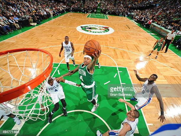 Isaiah Thomas of the Boston Celtics drives to the basket against the Philadelphia 76ers on October 28 2015 at the TD Garden in Boston Masachusetts...
