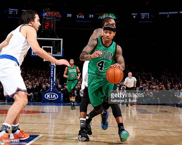 Isaiah Thomas of the Boston Celtics drives to the basket against the New York Knicks during the game on February 2 2016 at Madison Square Garden in...