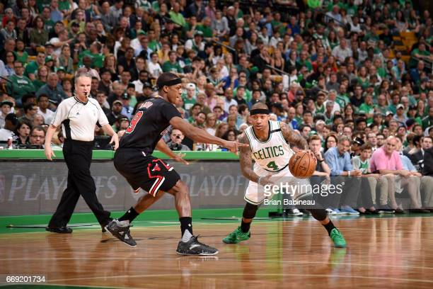 Isaiah Thomas of the Boston Celtics drives to the basket against the Chicago Bullsduring the Eastern Conference Quarterfinals of the 2017 NBA...