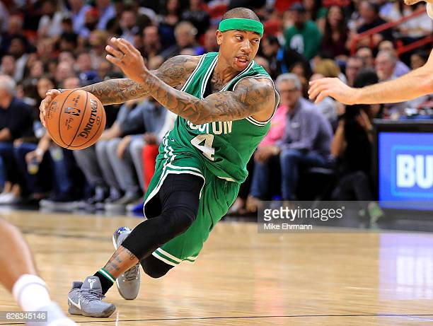 Isaiah Thomas of the Boston Celtics drives to the basket during a game against the Miami Heat at American Airlines Arena on November 28 2016 in Miami...