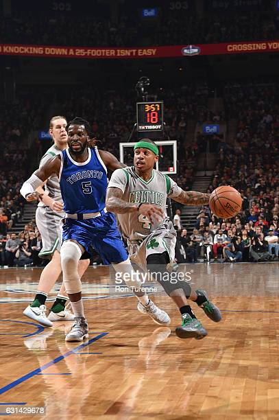 Isaiah Thomas of the Boston Celtics drives to the basket during a game against the Toronto Raptors on January 10 2017 at the Air Canada Centre in...