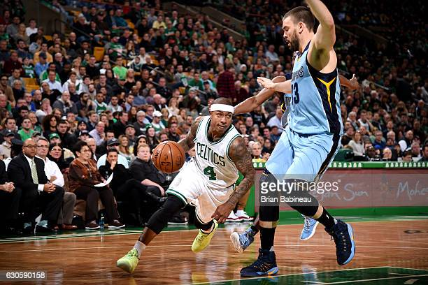 Isaiah Thomas of the Boston Celtics drives to the basket during the game against the Memphis Grizzlies on December 27 2016 at TD Garden in Boston...