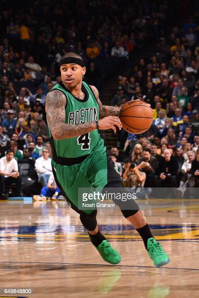 Isaiah Thomas of the Boston Celtics drives to the basket during the game against the Golden State Warriors on March 8 2017 at ORACLE Arena in Oakland...