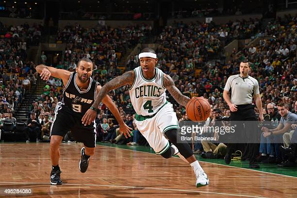 Isaiah Thomas of the Boston Celtics drives to the basket on Tony Parker of the San Antonio Spurs during the game on November 1 2015 at the TD Garden...