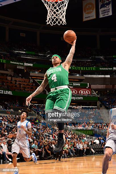 Isaiah Thomas of the Boston Celtics dunks against the Orlando Magic on March 8 2015 at Amway Center in Orlando Florida NOTE TO USER User expressly...