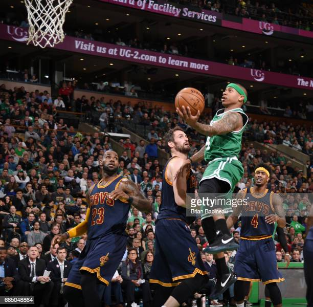 Isaiah Thomas of the Boston Celtics goes for a lay up against the Cleveland Cavaliers during the game on April 5 2017 at the TD Garden in Boston...