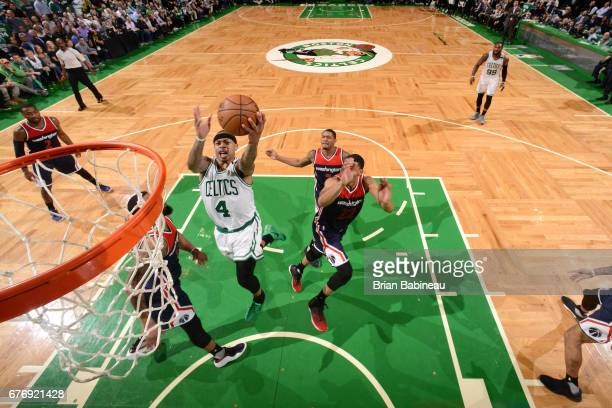 Isaiah Thomas of the Boston Celtics goes for a lay up during the game against the Washington Wizards during Game Two of the Eastern Conference...