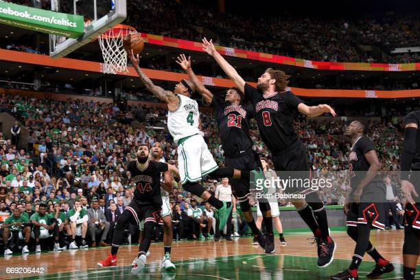 Isaiah Thomas of the Boston Celtics goes to the basket against the Chicago Bulls during the Eastern Conference Quarterfinals of the 2017 NBA Playoffs...