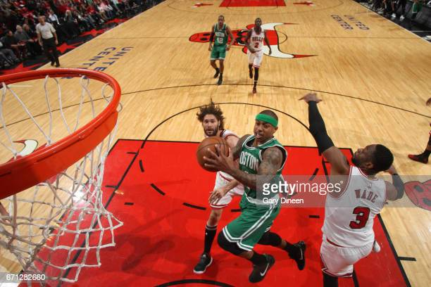 Isaiah Thomas of the Boston Celtics goes to the basket against the Chicago Bulls during Game Three of the Eastern Conference Quarterfinals of the...