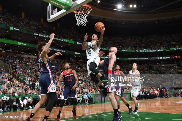 Isaiah Thomas of the Boston Celtics goes to the basket against the Washington Wizards in Game One of the Eastern Conference Semifinals of the 2017...