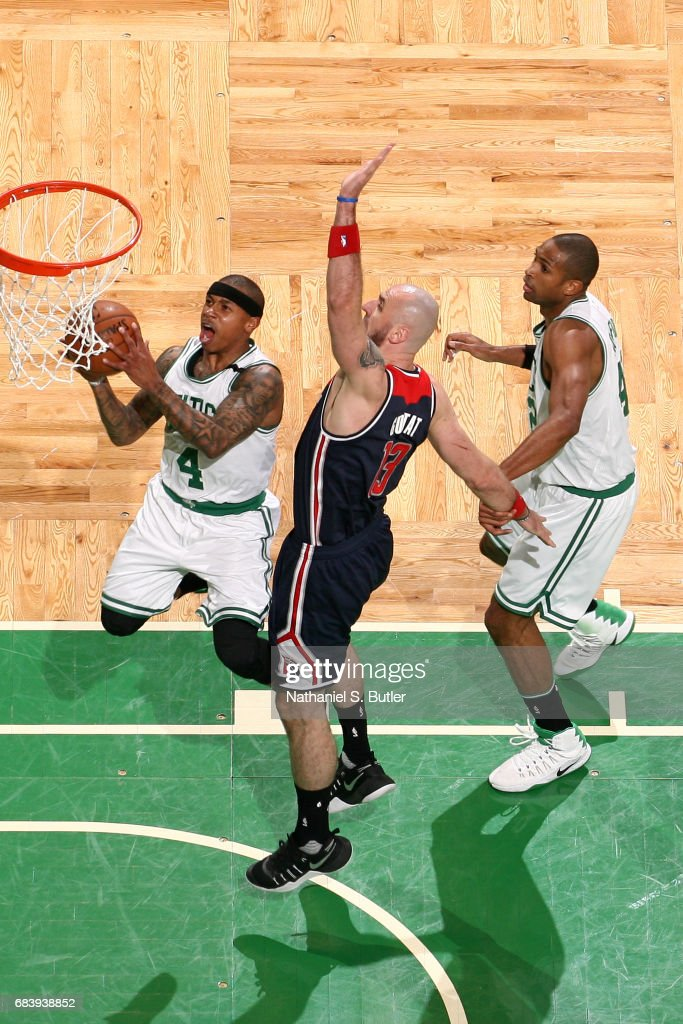 Isaiah Thomas #4 of the Boston Celtics goes up for a lay up against the Washington Wizards during Game Seven of the Eastern Conference Semifinals of the 2017 NBA Playoffs on May 15, 2017 at TD Garden in BOSTON, MA.