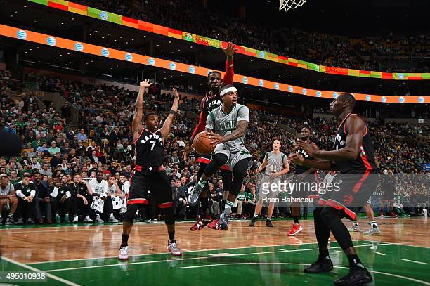 Isaiah Thomas of the Boston Celtics grabs the rebound against the Toronto Raptors during the game on October 30 2015 at TD Garden in Boston...