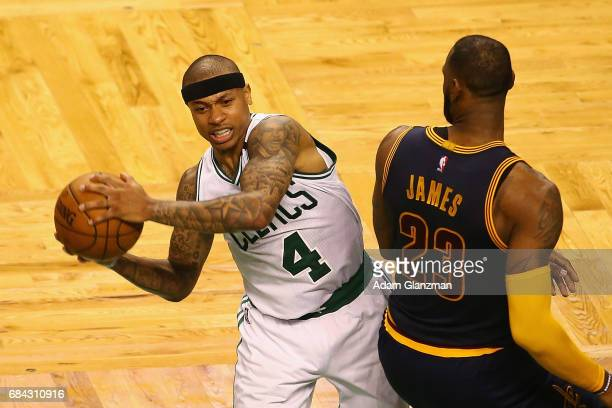 Isaiah Thomas of the Boston Celtics handles the ball against LeBron James of the Cleveland Cavaliers in the second half during Game One of the 2017...