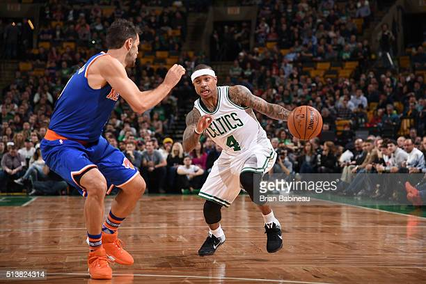 Isaiah Thomas of the Boston Celtics handles the ball against New York Knicks on March 4 2016 at the TD Garden in Boston Massachusetts NOTE TO USER...