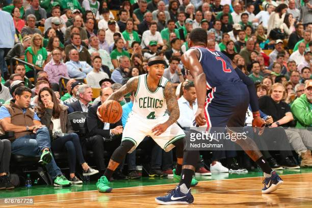 Isaiah Thomas of the Boston Celtics handles the ball against the Washington Wizards in Game Two of the Eastern Conference Semifinals of the 2017 NBA...