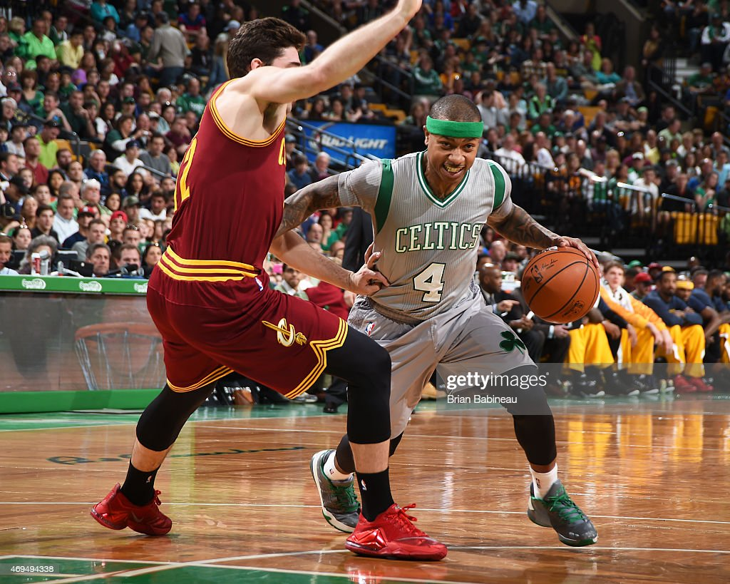 Isaiah Thomas #4 of the Boston Celtics handles the ball against the Cleveland Cavaliers on April 12, 2015 at the TD Garden in Boston, Massachusetts.