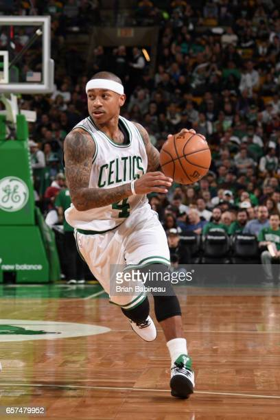 Isaiah Thomas of the Boston Celtics handles the ball against the Phoenix Suns on March 24 2017 at the TD Garden in Boston Massachusetts NOTE TO USER...