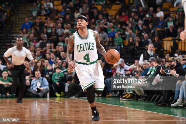 Isaiah Thomas of the Boston Celtics handles the ball against the Miami Heat on March 26 2017 at the TD Garden in Boston Massachusetts NOTE TO USER...