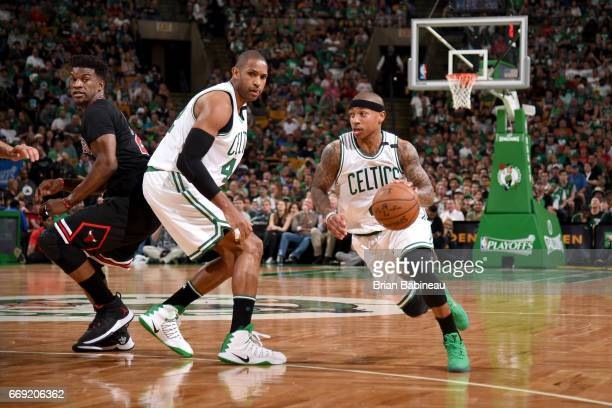 Isaiah Thomas of the Boston Celtics handles the ball against the Chicago Bulls during the Eastern Conference Quarterfinals of the 2017 NBA Playoffs...