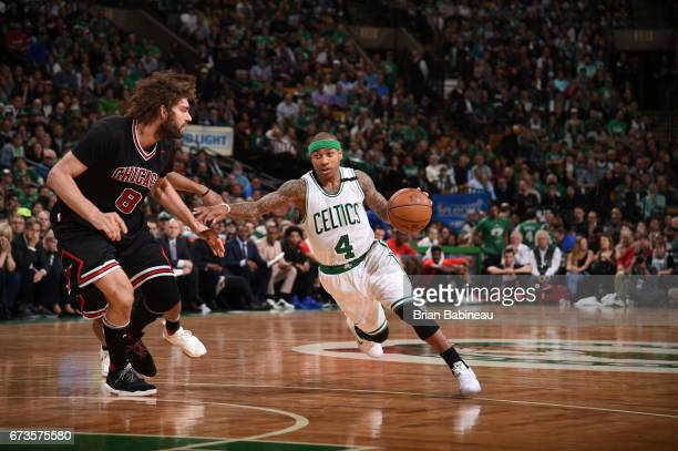 Isaiah Thomas of the Boston Celtics handles the ball against the Chicago Bulls during Game Five of the Eastern Conference Quarterfinals of the 2017...