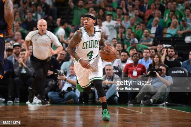 Isaiah Thomas of the Boston Celtics handles the ball against the Cleveland Cavaliers during Game Two of the Eastern Conference Finals of the 2017 NBA...