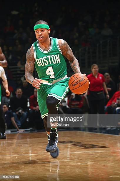 Isaiah Thomas of the Boston Celtics handles the ball during the game against the Washington Wizards on January 25 2016 at Verizon Center in...