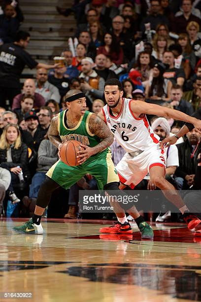 Isaiah Thomas of the Boston Celtics handles the ball during the game against the Toronto Raptors on March 18 2016 at the Air Canada Centre in Toronto...