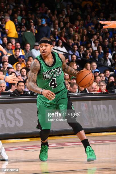 Isaiah Thomas of the Boston Celtics handles the ball during the game against the Golden State Warriors on March 8 2017 at ORACLE Arena in Oakland...