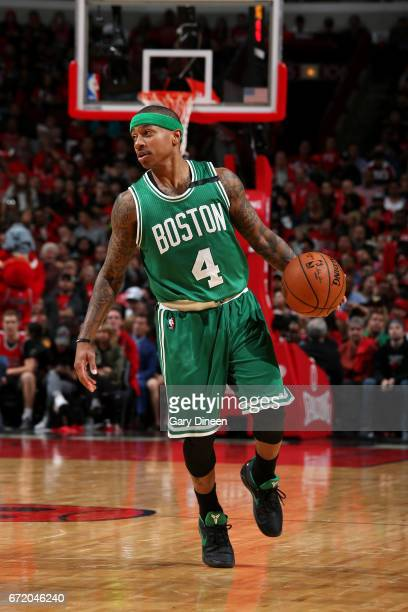Isaiah Thomas of the Boston Celtics handles the ball during the game against the Chicago Bulls in Game Four during the Eastern Quarterfinals of the...