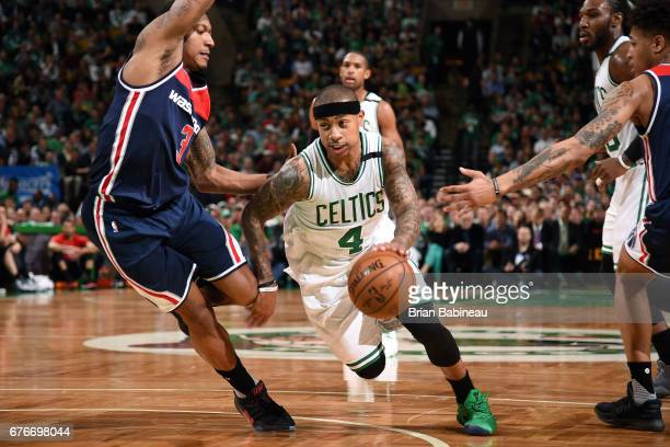 Isaiah Thomas of the Boston Celtics handles the ball during the game against the Washington Wizards during Game Two of the Eastern Conference...