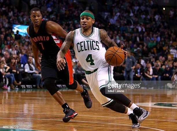 Isaiah Thomas of the Boston Celtics handles the ball in the third quarter against Kyle Lowry of the Toronto Raptors at TD Garden on April 14 2015 in...