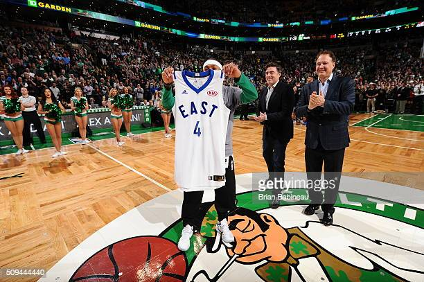 Isaiah Thomas of the Boston Celtics is presented with his Eastern Conference All Star Jersey before the game against the Los Angeles Clippers on...
