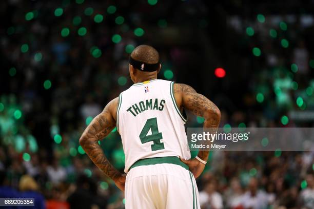 Isaiah Thomas of the Boston Celtics looks on during the first quarter of Game One of the Eastern Conference Quarterfinals against the Chicago Bulls...