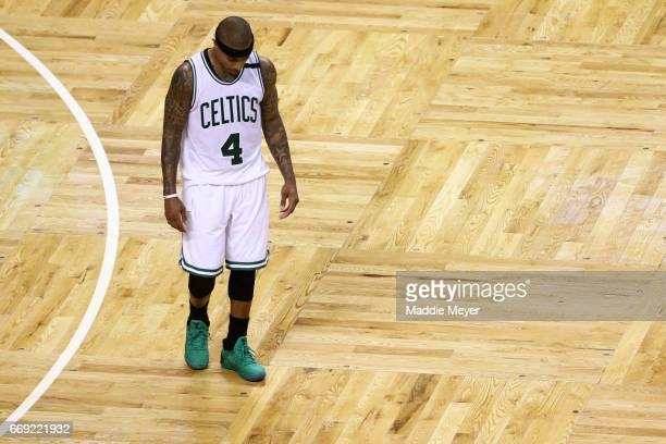 Isaiah Thomas of the Boston Celtics looks on during the fourth quarter of the Celtics 106102 loss to the Chicago Bulls during Game One of the Eastern...