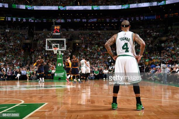 Isaiah Thomas of the Boston Celtics looks on during the game against the Cleveland Cavaliers during Game One of the Eastern Conference Finals of the...