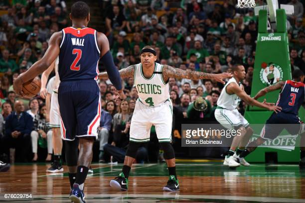 Isaiah Thomas of the Boston Celtics plays defense against John Wall of the Washington Wizards in Game One of the Eastern Conference Semifinals of the...