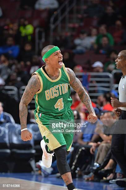Isaiah Thomas of the Boston Celtics reacts after hitting a three pointer against the Philadelphia 76ers at Wells Fargo Center on March 20 2016 in...