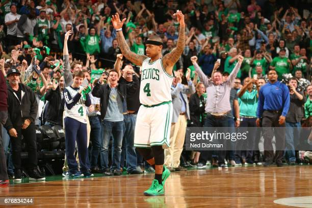 Isaiah Thomas of the Boston Celtics reacts during the game against the Washington Wizards in Game Two of the Eastern Conference Semifinals of the...