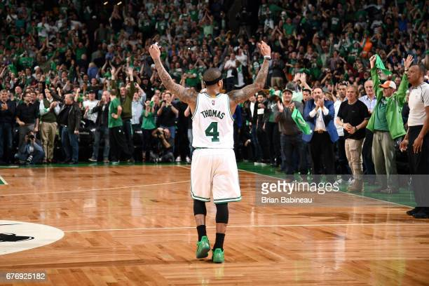 Isaiah Thomas of the Boston Celtics reacts during the game against the Washington Wizards during Game Two of the Eastern Conference Semifinals of the...