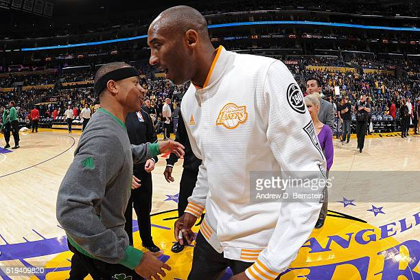 Isaiah Thomas of the Boston Celtics shakes hands with Kobe Bryant of the Los Angeles Lakers before the game on April 3 2016 at STAPLES Center in Los...