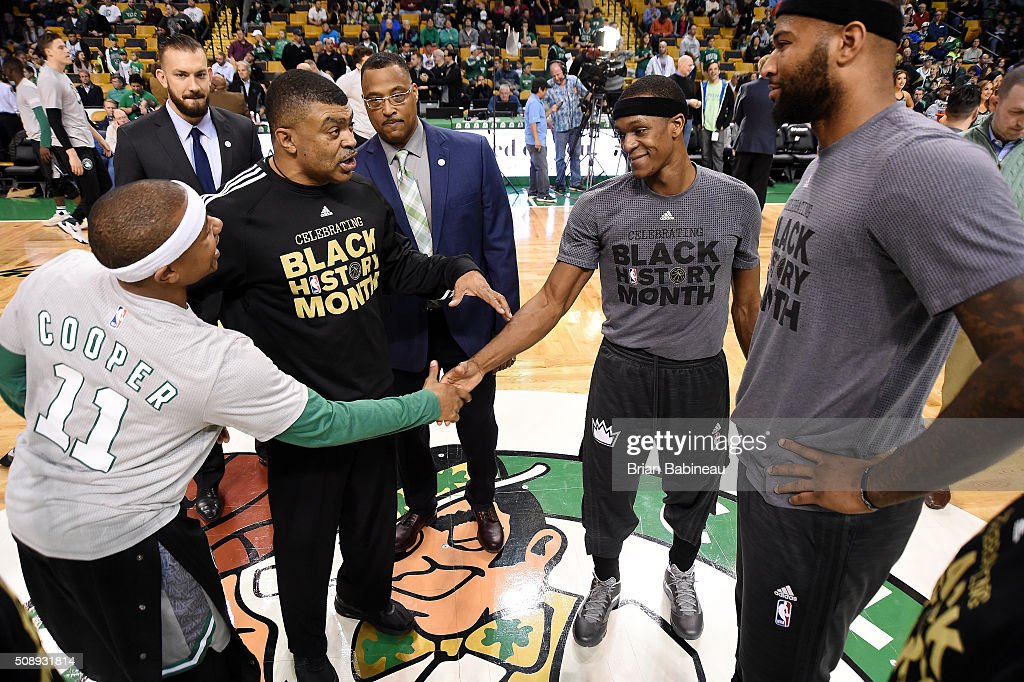 <a gi-track='captionPersonalityLinkClicked' href=/galleries/search?phrase=Isaiah+Thomas+-+Basketball+Player+-+Born+1989&family=editorial&specificpeople=13827915 ng-click='$event.stopPropagation()'>Isaiah Thomas</a> #4 of the Boston Celtics shakes hands with <a gi-track='captionPersonalityLinkClicked' href=/galleries/search?phrase=Rajon+Rondo&family=editorial&specificpeople=206983 ng-click='$event.stopPropagation()'>Rajon Rondo</a> #9 and <a gi-track='captionPersonalityLinkClicked' href=/galleries/search?phrase=DeMarcus+Cousins&family=editorial&specificpeople=5792008 ng-click='$event.stopPropagation()'>DeMarcus Cousins</a> #15 of the Sacramento Kings before the game on February 7, 2016 at the TD Garden in Boston, Massachusetts.