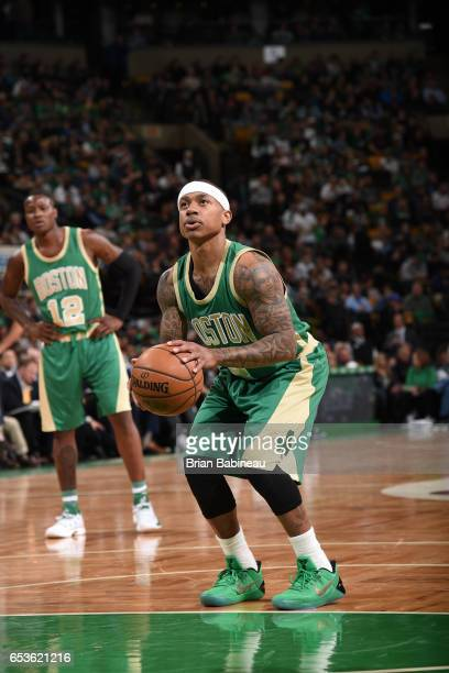 Isaiah Thomas of the Boston Celtics shoots a free throw against the Minnesota Timberwolves on March 15 2017 at the TD Garden in Boston Massachusetts...