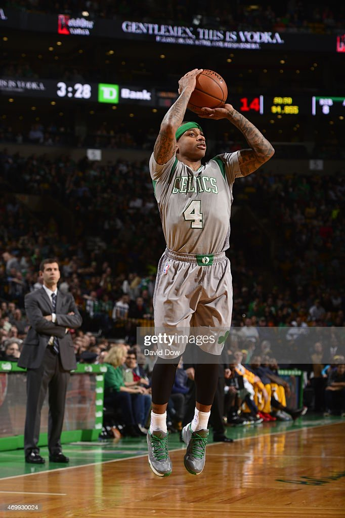 Isaiah Thomas #4 of the Boston Celtics shoots against the Cleveland Cavaliers on April 12, 2015 at the TD Garden in Boston, Massachusetts.
