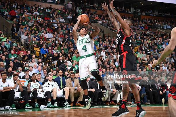 Isaiah Thomas of the Boston Celtics shoots against the Toronto Raptors on March 23 2016 at the TD Garden in Boston Massachusetts NOTE TO USER User...