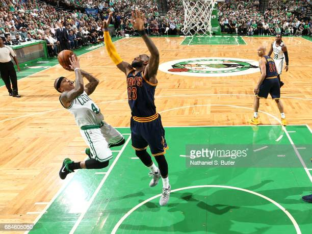 Isaiah Thomas of the Boston Celtics shoots the ball against LeBron James of the Cleveland Cavaliers in Game One of the Eastern Conference Finals...