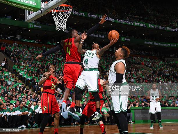 Isaiah Thomas of the Boston Celtics shoots the ball against the Atlanta Hawks in Game Four of the Eastern Conference Quarterfinals during the 2016...