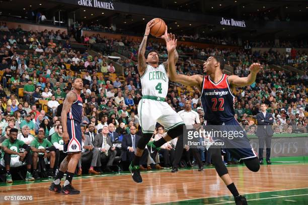 Isaiah Thomas of the Boston Celtics shoots the ball against the Washington Wizards in Game One of the Eastern Conference Semifinals of the 2017 NBA...
