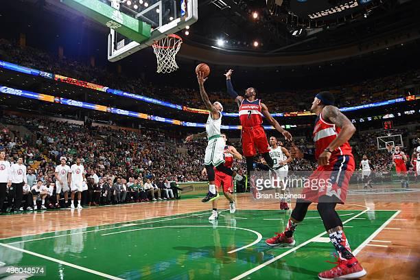 Isaiah Thomas of the Boston Celtics shoots the ball against the Washington Wizards on November 6 2015 at the TD Garden in Boston Massachusetts NOTE...