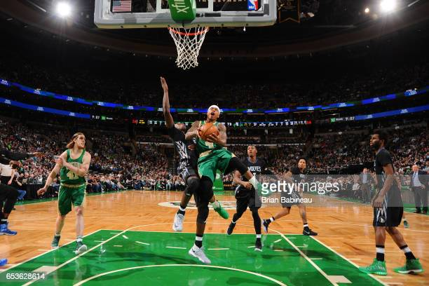 Isaiah Thomas of the Boston Celtics shoots the ball against the Minnesota Timberwolves on March 15 2017 at the TD Garden in Boston Massachusetts NOTE...
