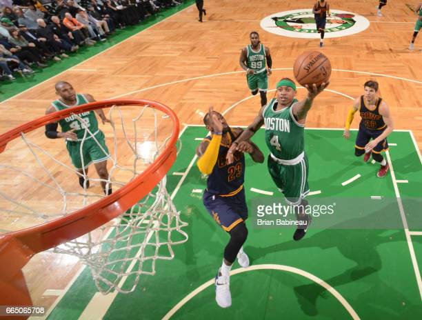 Isaiah Thomas of the Boston Celtics shoots the ball against the Cleveland Cavaliers during the game on April 5 2017 at the TD Garden in Boston...